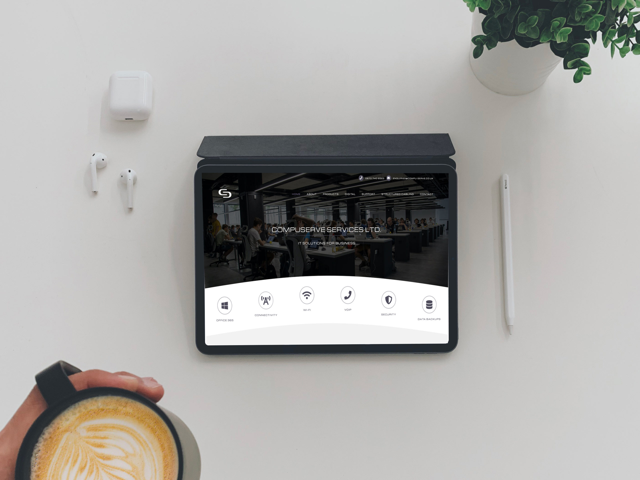 compuserve | full digital service - Free Top View CoffeJe With iPad Mockup scaled - Compuserve | full digital service