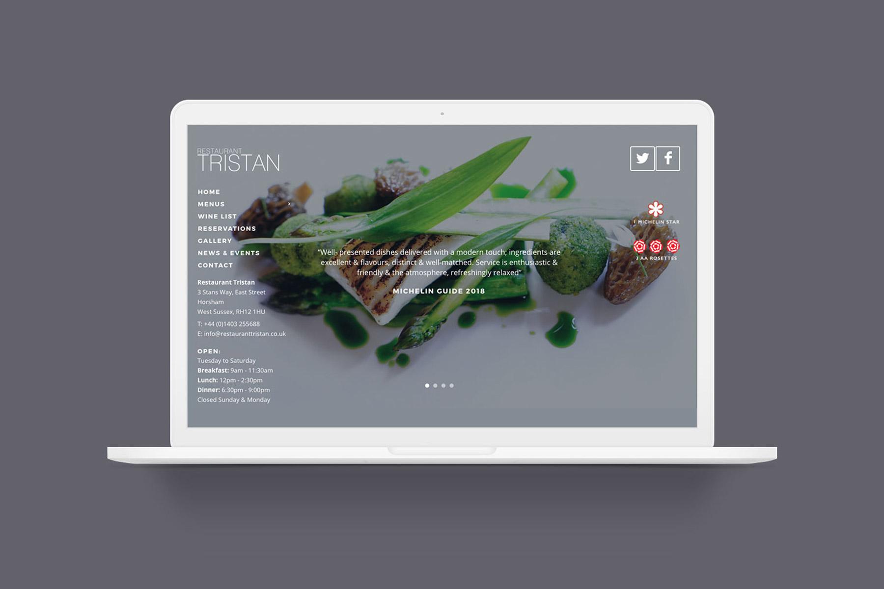 restaurant tristan | full digital service - Tristan Website Mockup - Restaurant Tristan | Full Digital Service